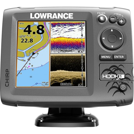 Lowrance Sonda Hook 5 Mid/High/DownScan 455/800 83/200 con chartplotter