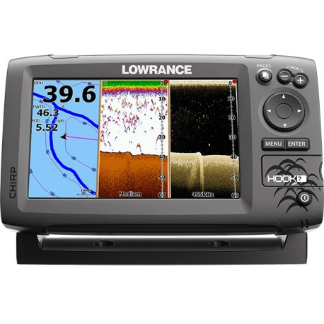 Lowrance sonda Hook 7 Mid/High/DownScan 83/200 455/800 50/200 Con Chartplotter
